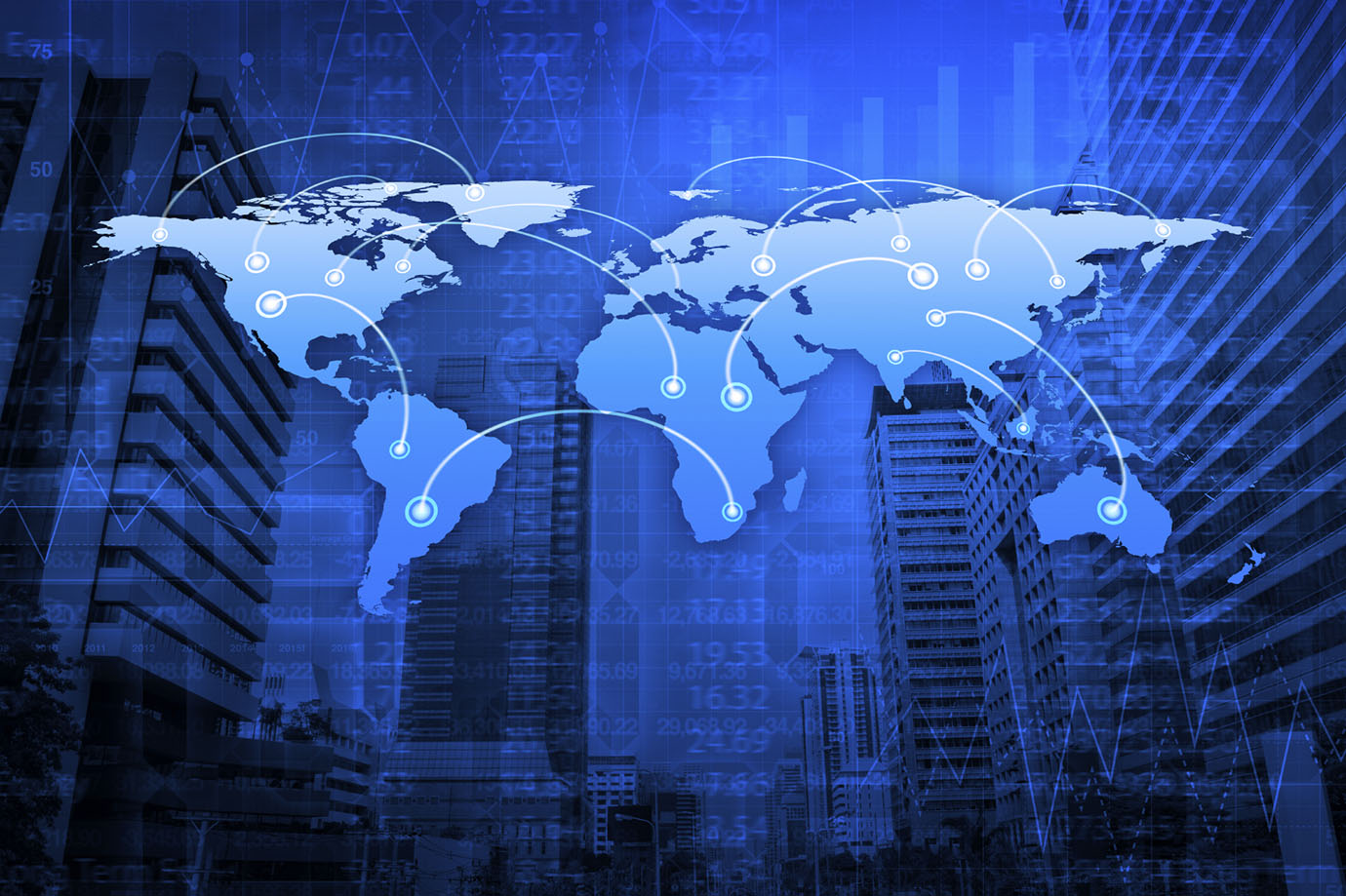 Global Business Connection Concept On City Tower, Elements Of This Image Furnished By NASA